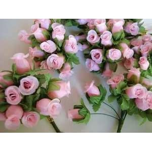 "144pc Poly Silk Artificial Rose Buds Flower 4"" Stem Wedding Bouquet (H415-Pink) US SELLER SHIP FAST 15"