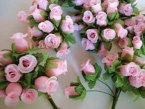144pc-Poly-Silk-Artificial-Rose-Buds-Flower-4-Stem-Wedding-Bouquet-H415-Pink-US-SELLER-SHIP-FAST