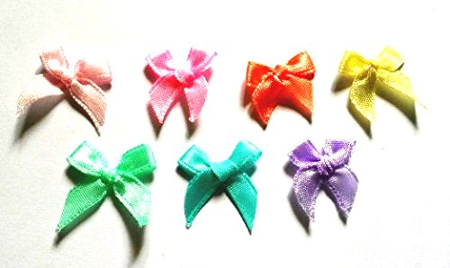 100 Pcs - Mix 7 Pastel Colors Satin BOW Ribbon Applique Embellishment Decoration - Size 20mm X 25 Mm