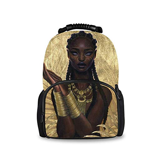 - Hiking Work Walking Cycling Backpack Daypack Durable Polyester Multipurpose Anti-Theft Backpck Big Capacity Bookbag, Gold African American Black Woman Girl Painting