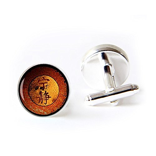 LAROK WAZZIT Unique Round Cufflinks Set Firefly Jewelry