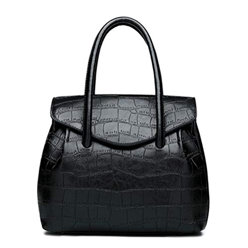 Lady Alligator Hobos Bag Patchwork Shoulder Bags Large Capacity Sac A Main Retro Oil Wax Pu Leather Women Handbag black (Alligator Embossed Hobo Handbag)