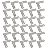 WEBI Heavy Duty Stainless Steel Corner Braces,L Right Angle Brackets, Joint Fastener, Shelf Support for Wood Furniture, Chests, Screens, Windows, Brushed Finish,30 Pcs,PMJM-L-60X60