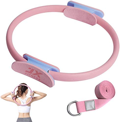 JX FITNESS Pilates Ring – Upgraded Magic Fitness Circles with Yoga Strap, 14″ Ultra-Fit Pilates Circle with Handles for Exercise Toning Legs Thighs Arms Abs, Yoga Resistance Ring for Home Gym Workout