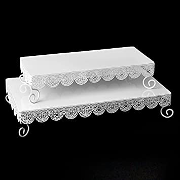 Simply Elegant White Metal Rectangle Eyelet Cake Stands Set Of Two 14 And 17 Long Lattice Borders Kitchen Dining
