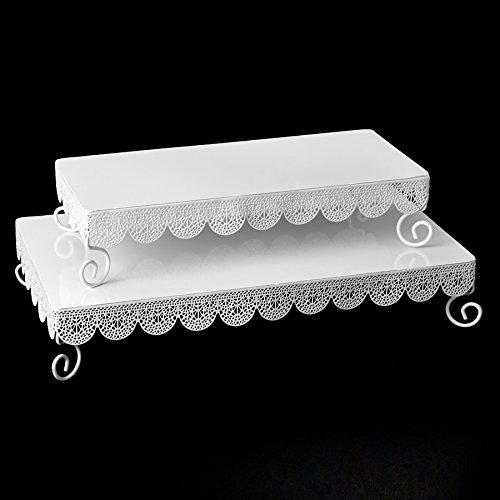 White Metal Rectangle Eyelet Cake Stands - 2 per - Metal Rectangle