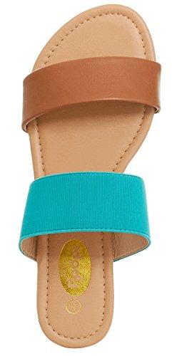 Floopi Womens Summer Wide Elastic Slide Flat Sandal (7, Tan/Teal-503) by Floopi (Image #2)