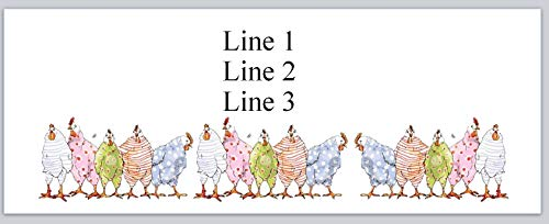 Labels Chicken Address - 150 Personalized Address Labels Primitive Country Row of Cartoon Chickens (p 805)