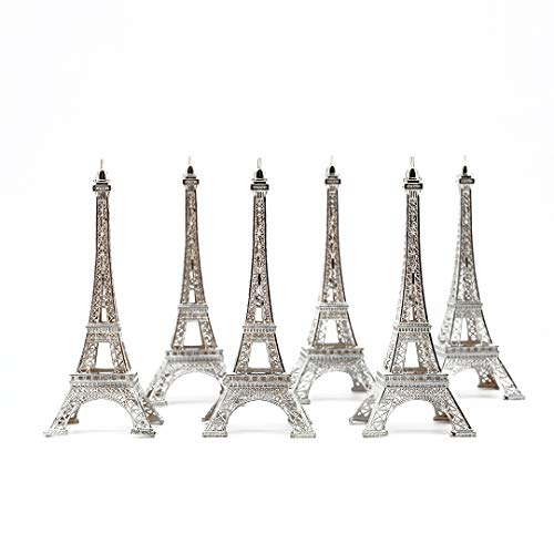 7 Inch (18cm) Silver Metal Eiffel Tower Statue Figurine Replica Centerpiece Pack of 6