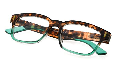Womens Stylish Spring Hinge Reading Glasses Clear Lens Eyewear for Reading Green Frame ()