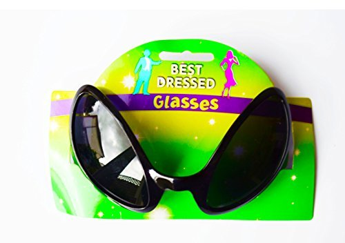 Alien Eye Sunglasses Glasses Black Sc-Fi Space Robot Halloween Fancy Dress by Card and Party Store