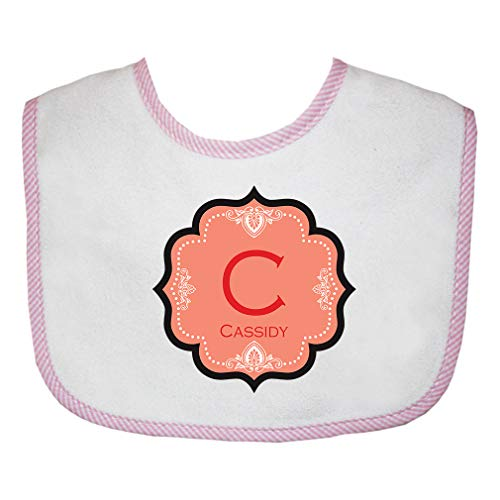 Personalized Custom Alphabet Letter Block Floral Decoration Cotton Boys-Girls Baby Terry Bib Gingham Trim - Pink, One Size