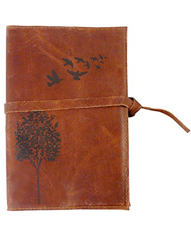 Classic American Made Leather Writing Journal with Wood Bookmark, Refillable, 5x8, 224 lined pages (Saddle Brown/Birds in Flight Image)