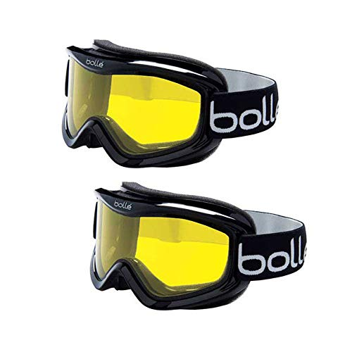 Bolle Mojo Ski/Snow Goggles, 2-Pack | Shiny Yellow Lemon | Ventilated | Dual-Pane Anti-Fog Thermal Barrier | Crystal Clear View | Med-Lg. Adult Fit