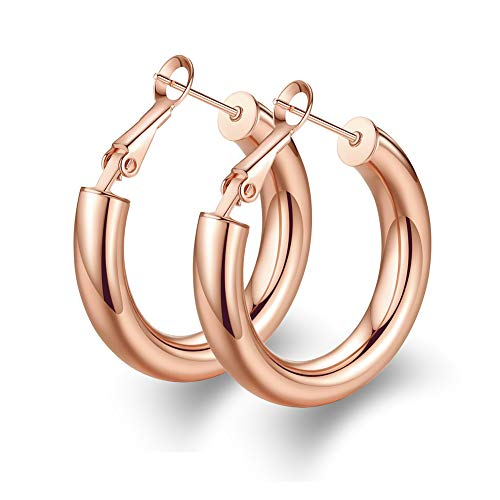 (1 inch Thick Rose Gold Hoop Earrings for Girls Stainless Steel Statement Earrings Sturdy Tube Hoop Studs )