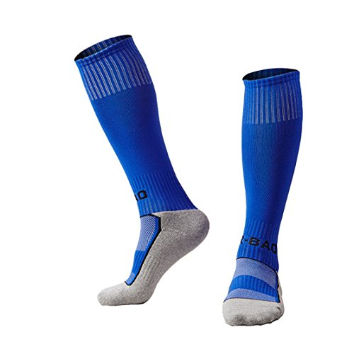 TULUO Kids Knee High Compression Sports Long Soccer & Football Socks ( Youth 7-14 Years Boys/Girls) 1 Pack Blue