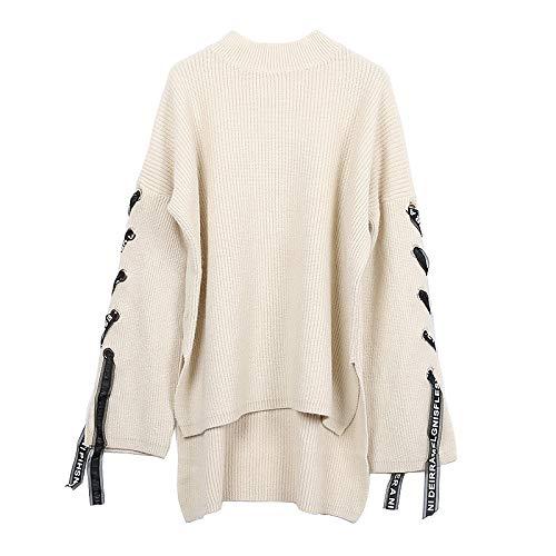JIAKENVDE Winterhaube Rundhalsausschnitt Unregelmäßige Bandhülse Kurze Kurze Lange Lose Sen Weibliche Pullover