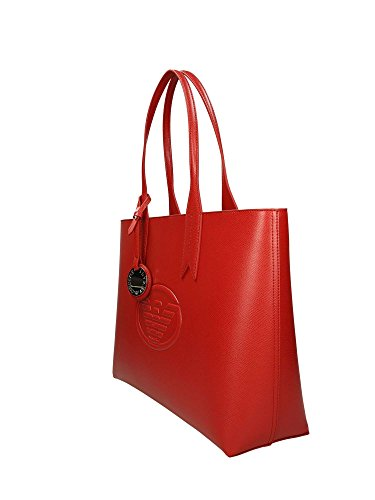 Armani Handbag Red Logo Femme Leather Emporio Shopping 81gq1Z