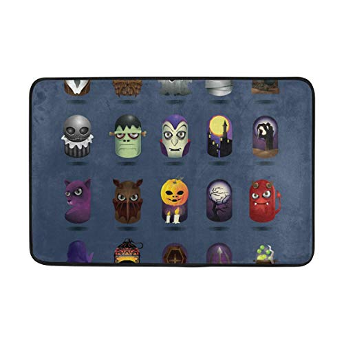 Lisang Halloween Icons Set Door Mat Decorative Door Mat Indoor Outdoor House Doormat High Traffic Areas Non Slip Machine Washable Door Mats 23.6(L) x 15.7(W) ()