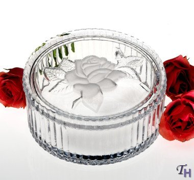 3635 Crystal Box With Frosted Rose Design Cover Candy Dish (Box Candy Dish)