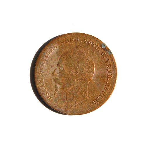 1857 SE 19th Century Sweden 2 Öre - Oscar I Coin Choice Fine Details