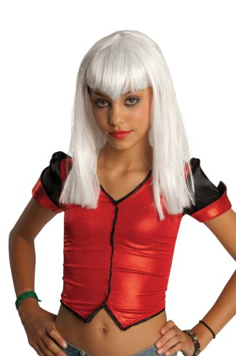 Child's White Glitter Vamp Wig -