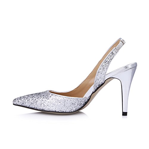Dolphinbanana Womens Glitter A Punta Slingback Pumps Primo Glitter Argento