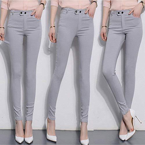 Slim Pantalon grey Long Femmes Skinny Fit Stretch Crayon Haute Grau Taille Jegging Unie Mode Casual Couleur Dame 8RdBTTW
