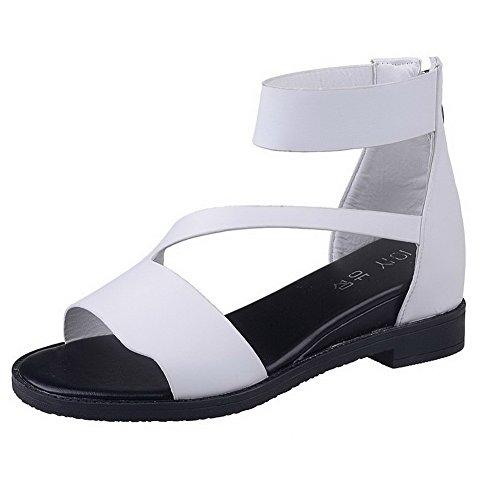 AalarDom Womens Zipper Open-Toe Low-Heels PU Solid Sandals White(3cm) MFX7L3
