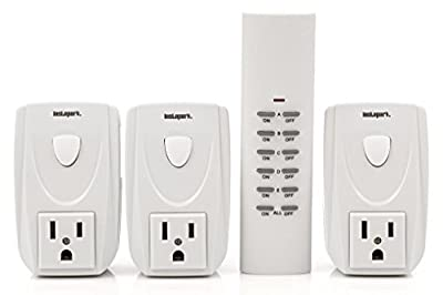 Instapark ORC Series Indoor Wireless Electrical Outlet On/Off Switch Remote Control Kit (White, 1 Remote Control + 3 Outlets)