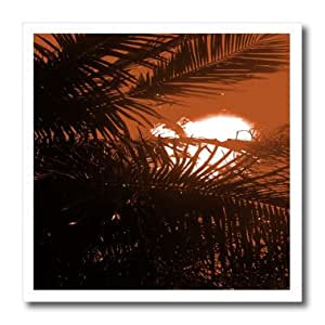 ht_174411_2 Florene - Beach And Sunset Art - image of copper sunset with palm silhouette - Iron on Heat Transfers - 6x6 Iron on Heat Transfer for White Material