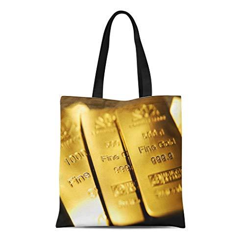 - Semtomn Canvas Tote Bag Yellow Bullion Gold Bars Ingot Vault Reserve Wealth Bank Durable Reusable Shopping Shoulder Grocery Bag