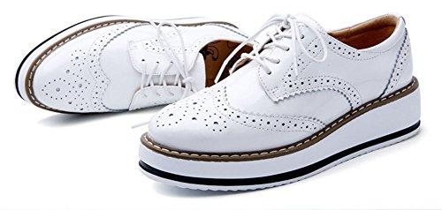 Cuir 41 Taille Femme Brogues 40 Plateforme Blanc Baskets Lacets 39 Chaussure Derby Vernis à wealsex Ville Grande gw54xSqnZ