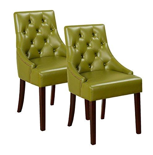 Pilaster Accents (Pilaster Designs - Green Tufted Design With Nail Head Trim Accent Chair, Set of 2 Chairs)