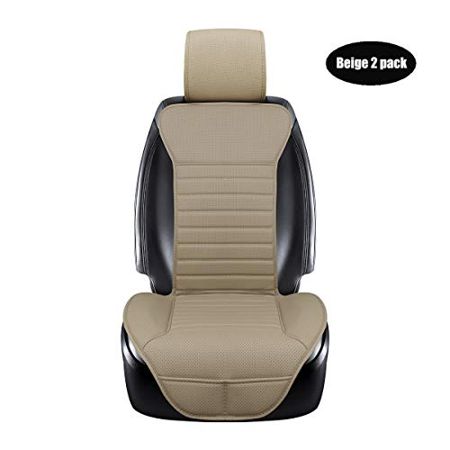 DINKANUR Breathable PU Leather Auto Universal Car Seat Covers Car Interior Driver and Passenger Seat Cover Car Seat Cushions for Cars (2 PCS) (beige-B)