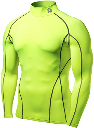Tesla TM-T12-CCGZ_Medium Men's Turtle Mock Long-Sleeved T-Shirt Cool Dry Compression Baselayer T12