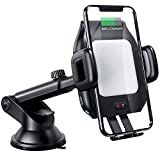 Wireless Car Charger Mount,CNSL Patent Auto Clamping QI 15W Fast Charging Metal Motor Phone Holder with Strong Suction,Air Vent Windshield Dashboard Stand,Compatible with iPhone Xs/XR/8,Samsung S10/S8