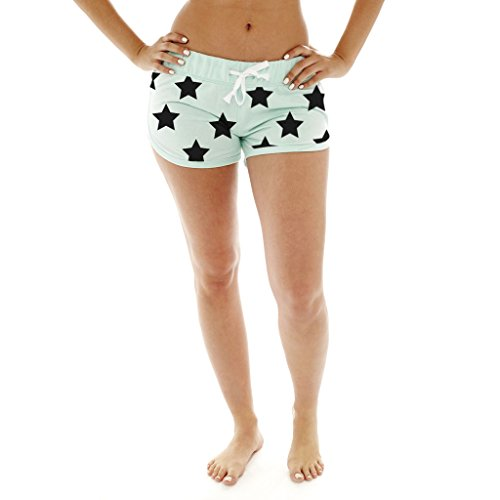 [A509-MNT/BLK-L] Coco-Limon Women French Terry Cloth Shorts, Star Print, Drawstring Waist