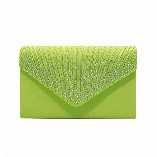 Nodykka Women Evening Envelope Rhinestone Frosted Handbag Party Bridal Clutch Purse (Light green)