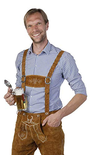 BAVARIA TRACHTEN Lederhosen Men's Oktoberfest German Costume Genuine Leather - Comfortable Design - Ideal for Halloween, Dress-Up, Festivals, Long Brown]()