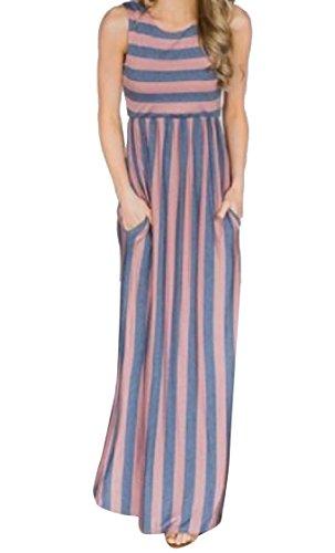 Blue Classic Women Sleeveless Dress Top Tunic Stripe Long Pockets Coolred Oq6zwX