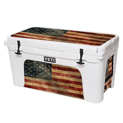 MightySkins Protective Vinyl Skin Decal for YETI Tundra 75 qt Cooler wrap cover sticker skins Vintage Flag by MightySkins