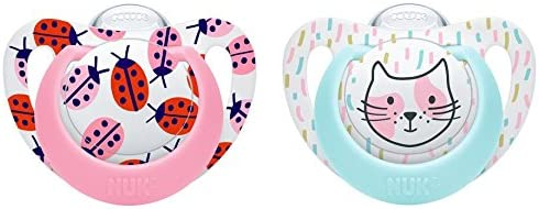 Packs of 2 NUK Genius Color Silicone Baby Soothers Stage 2 Orthodontic Plus