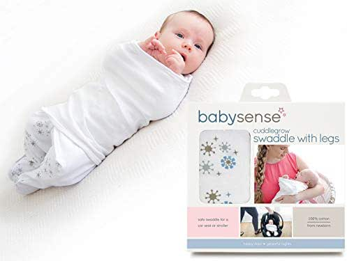 Cuddlegrow Swaddle Blanket/Award-Winning Baby Wrap with Legs | Home, Car, Travel, Stroller | Stretchy & Safe 100% Premium Breathable Cotton for Sleep,Temperature, Feeding, Calming (Blue)