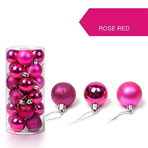 48Pcs Christmas Ball Ornaments Shatterproof Christmas Decorations Tree Bauble Balls 30mm Small for Holiday Wedding Party Decoration, Tree Ornaments Hooks (Hot Pink)