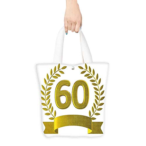 Packable Shopping Bag 60th Birthday Decorations Golden Age Party with Rome Empire Theme Branches Art Print Gold and White (W15.75 x L17.71 Inch) -