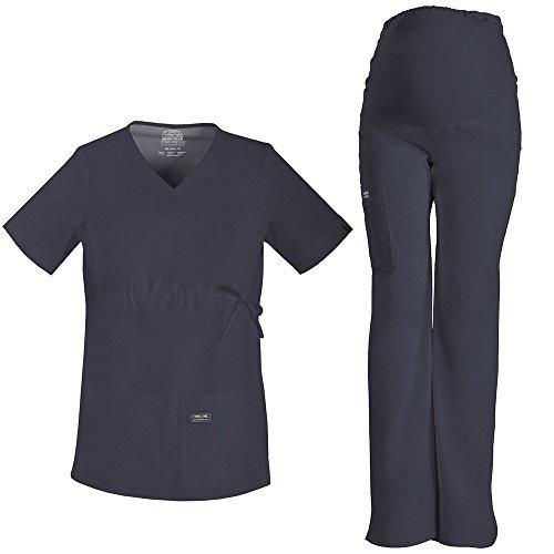 Core Stretch by Cherokee Workwear Women's Maternity Scrub Top & Scrub Pant Set X-Large Pewter