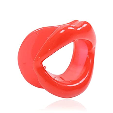 Silicone Face Slimmer Mouthpiece Muscle Lips Trainer Tightener Face-lift Slimmer Anti-aging Anti-wrinkle (Red) GVDOR