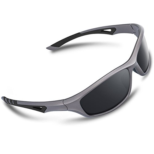 RIVBOS Polarized Sports Sunglasses Driving Glasses for Men Women Tr90 Frame for Cycling Baseball Running 842 (Grey, Black Polarized - Made What Lenses Of Polarized Are