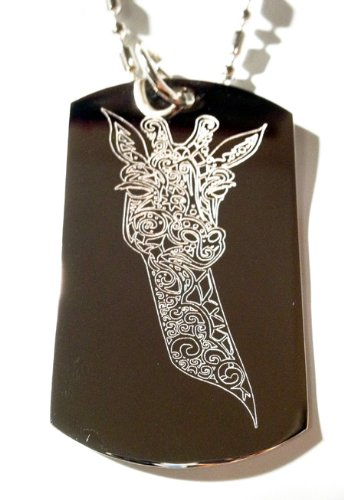 Beautiful Ornate Tribal Giraffe Animal Tattoo Logo Symbols - Military Dog Tag Luggage Tag Key Chain Metal Chain Necklace